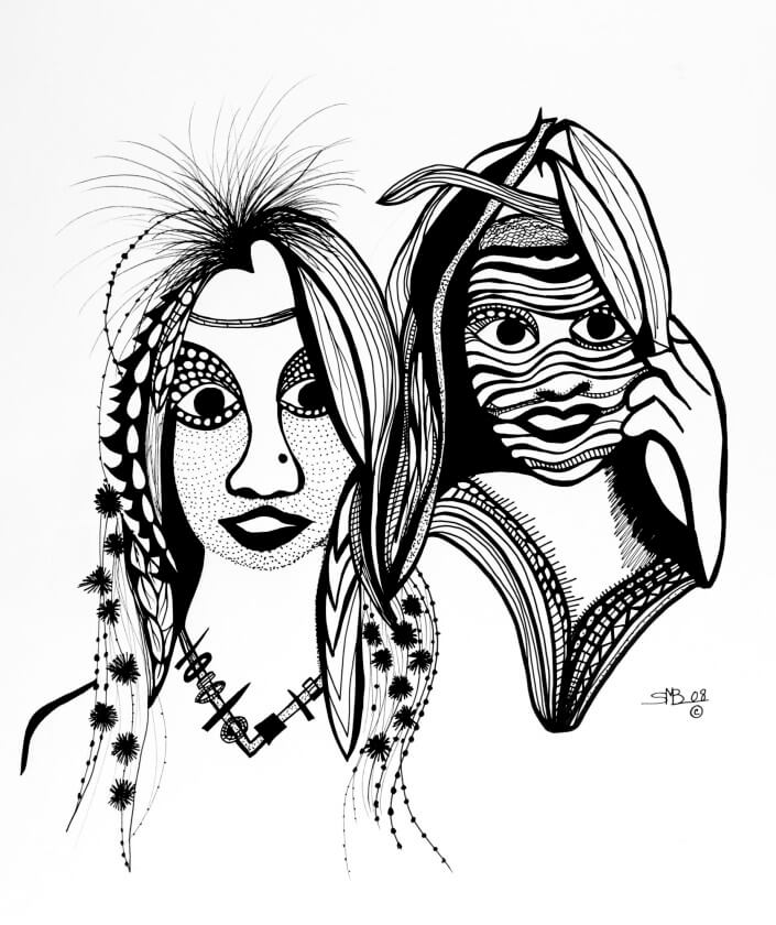 Tribal Princess 14x17inch Black Archival Ink 2008