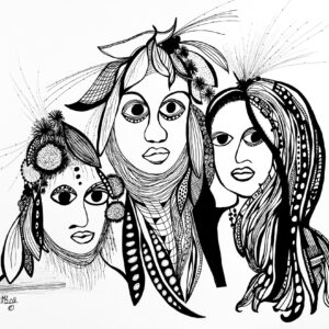 The Family 14x17inch Black Archival Ink 2008