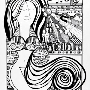 Music Lessons 18x23inch Black Archival Ink 2007